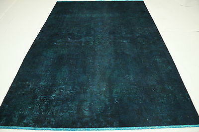 Oriental Rug Vintage Modern Overdyed 300x200 Blue Used Look Hand Knotted 3171