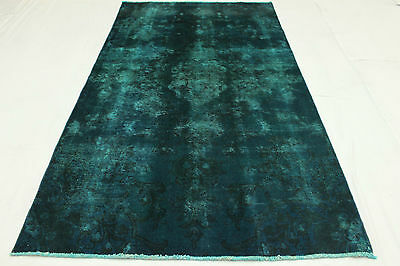 East Rug Vintage overdyed turquoise 260x150 quality Used Look hand knotted 3146