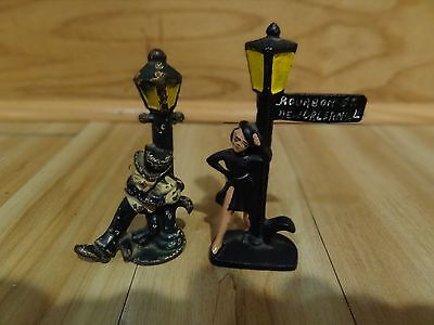 Vintage Cast Iron Drunk Man & Call Girl Figurines Holding Bourbon St New Orleans
