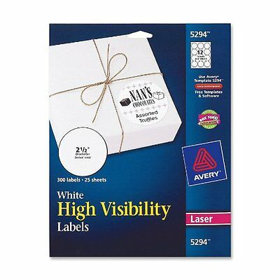 Avery High Visibility 2 1/2 Inch Diameter White Labels 300 Pack 5294