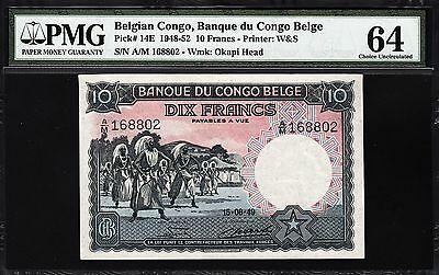 Belgian Congo 10 Francs 1949 Pmg 64 Choice Uncirculated P 14E