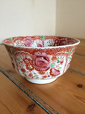 Vintage Edwardian bowl with orange and pink floral design