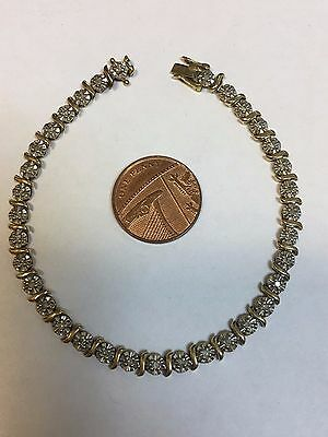 9 Carat Yellow Gold DIAMOND SET TENNIS BRACELET 1/2 carat diamonds