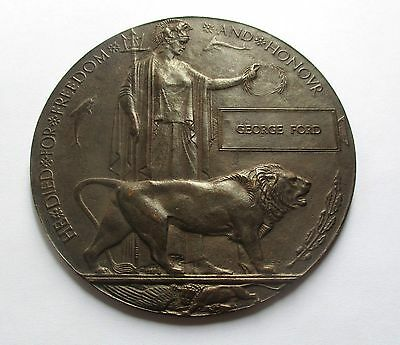 Ww1 Death Plaque / George Ford