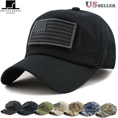f1b26539 The Hat Depot Low Profile Tactical Operator with USA Flag Patch Cotton Cap  1007