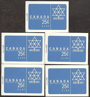 Stamps Canada # Bk55, 1967, lot of 5  Booklets MNH stamps.