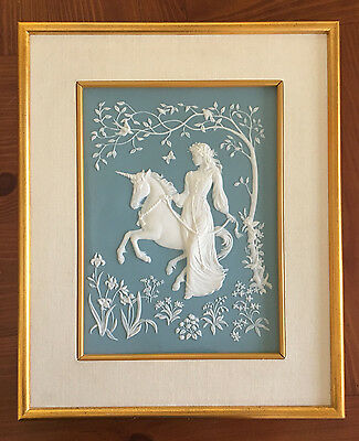 Franklin Mint The Lady and the Unicorn George McMonigle Framed Parian Tile