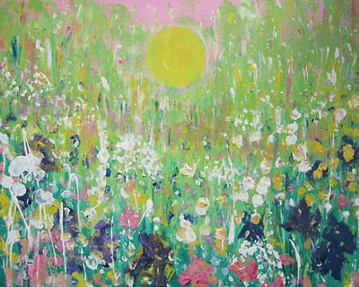 Gold Light in the Wild Flower Meadow: large oil painting on canvas by Jenny Hare