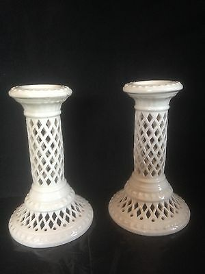 Royal Creamware A Pair Of Candle Holders