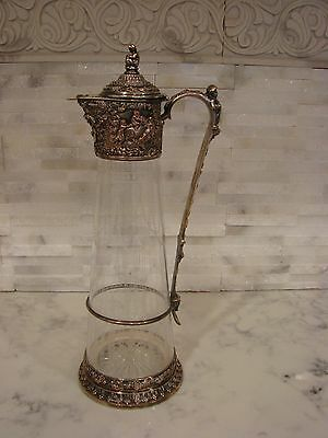 Antique Ornate Silverplate & Etched Glass  Claret Pitcher with Cherubs