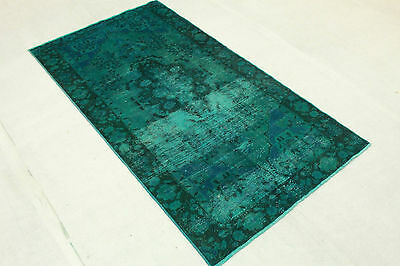 Oriental Rug Vintage Overdyed 220x120 Turquoise Blue Used Look Hand Knotted 3265