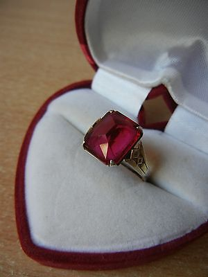 Vintage USSR RING SILVER 875 Star Size 7.5 RED STONE 4.2 g