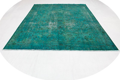 Persian Rug Vintage Modern Carpet 380x280 Turquoise Used Look Hand Knotted 5028