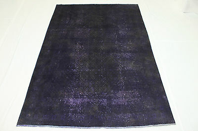 Oriental Rug Vintage overdyed purple Used Look 290x200 Quality Hand Knotted 2435