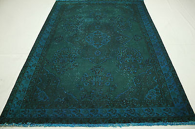 VINTAGE ORIENTAL RUG OVERDYED 270X180 Blue Turquoise Used Look Hand Knotted 3164