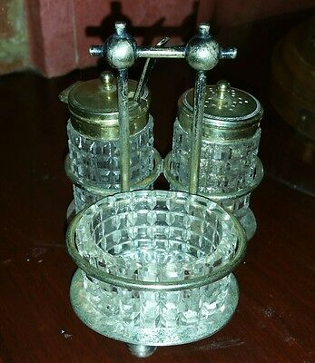 Vintage Hobnail Glass Cruet Set Complete With Epns Stand