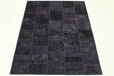 Patchwork Oriental Rug Vintage 200x150 Purple Chic Used Look Hand Knotted 2956