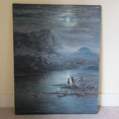 old oil painting moonlight Highland scene with stags, ducks, signed