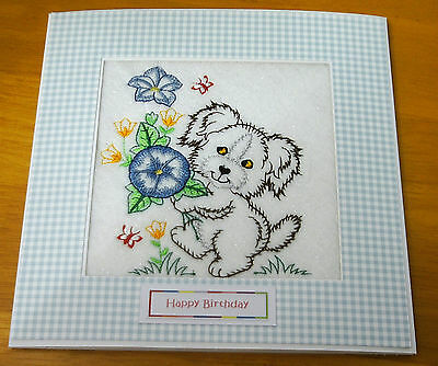 complete embroidered Birthday Card Pretty Dog and Bouquet