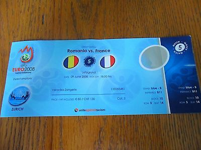 Romania V France Unused Match Ticket- Euro 2008- 09/06/2008.