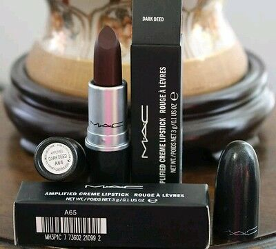 Rossetto MAC Amplified Dark Deed Lipstick Rouges A Levres(nuovo e inscatolato)