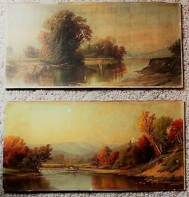 Pair of RARE EARLY A. T. Bricher prints 1866 Prang Chromolithographs unframed