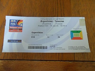 Argentina V Tunisia 15/06/2005- Confederations Cup Ticket.
