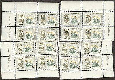 Stamps Canada #,429, 5¢, 1966,  plate # , 4 plate blocks of 4 MNH stamps.
