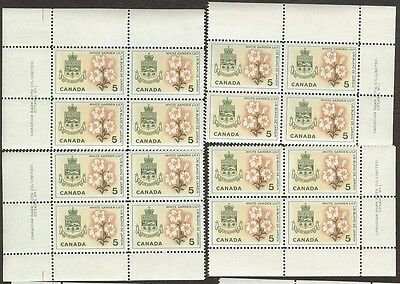 Stamps Canada # 419, 5¢, 1966, 4 blocks of 4 MNH stamps.