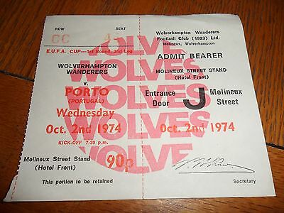 Wolves V Porto-(Portugal) Football ticket- 02/10/1974-UEFA Cup-1st round-2nd leg