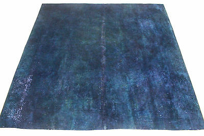 Oriental Rug Vintage Square Modern Used Look 290x290 Blue Hand Knotted 555