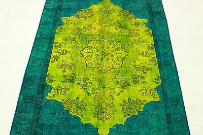 East Rug Vintage overdyed 270x190 turquoise green Used Look hand knotted 3203