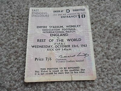 England V Rest of the World Football ticket- 23/10/1963.