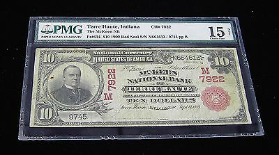 1902 $10 Red Seal McKeen National Bank of Terre Haute Indiana PMG 15 CH # 7922
