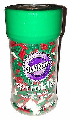Wilton Sprinkles 2.3 ounces  Snowflake Mix Holiday Green Red White (Pack of 2)
