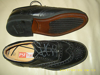 ** New Psf Tradition **  Mens Black Lace Up Brogue Shoe   Size 7