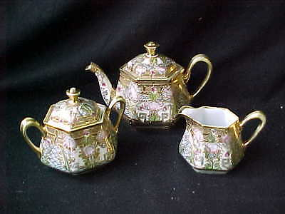 3Pc Hand Painted Nippon Teaset Heavy Gold Decoration
