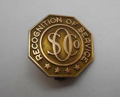 1916 Standard Oil Company 10k Gold S O Co Recognition of Service Award Pin