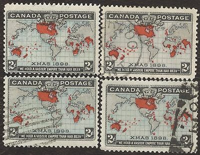 Stamps Canada, 86, 2¢, 1898,  lot of 4 used stamps.