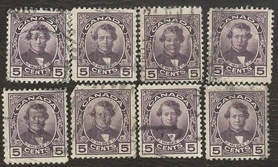 Stamp Canada # 146, 5¢, 1927, lot of 8 used stamps.