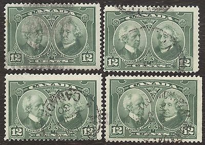 Stamp Canada # 147, 12¢ 1927, lot of 4 used stamps.