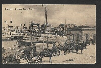 (111cents) Italy Messina - Stazione Ferry Boats Vintage Postcard