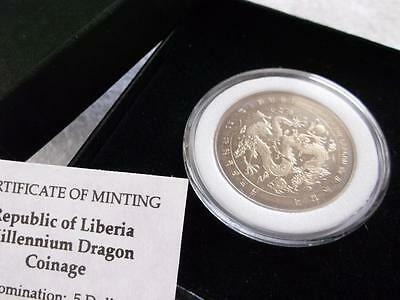 Liberia 5 Dollars 2000 Year Of The Dragon Unc      A1436