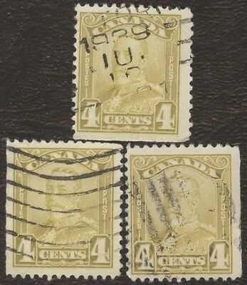 Stamp Canada # 152, 4¢, 1929, lot of 3 used stamps.