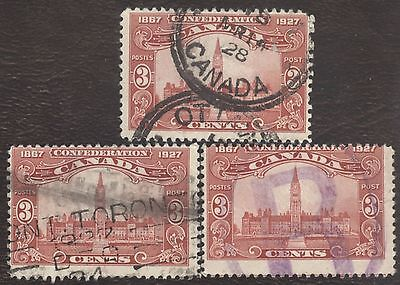 Stamp Canada # 143, 3¢, 1927, lot of 3 used stamps.