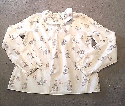 Marie Chantal White Patterned Long Sleeve Blouse Age 10 Years