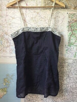 French Connection Black Vest Top Blouse With White Lace Detail Size UK12