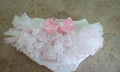baby girls white frilly pants with white and pink lace size 3-6 month brand new