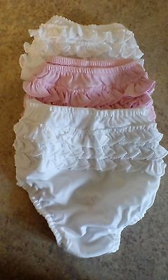 3 baby girls christening frilly pants/knickers 2 white 1 pink size 3-6 months