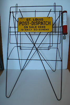 ST LOUIS POST DISPATCH Newspaper Paper Stand Metal RACK w/ coin dispenser vendor